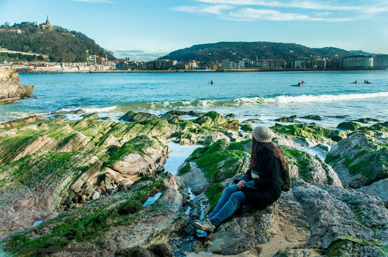 Playa de la Concha con marea baja